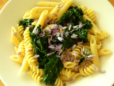 an earlier pasta dish with blanched kale and chive flowers