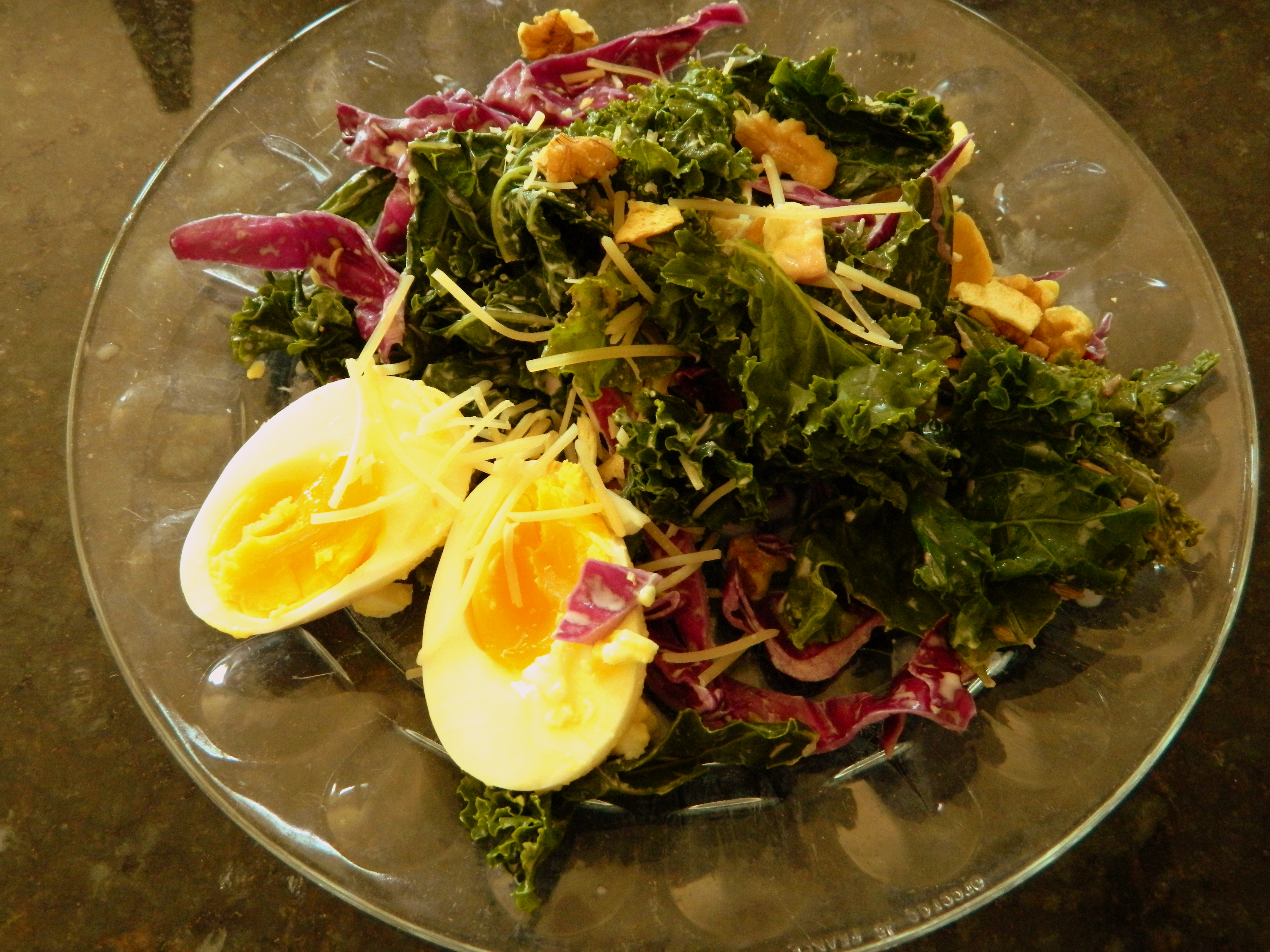 still eating kale and cabbage salad...this time with an egg!