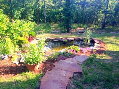 one year later ~ fully landscaped Laguna pond at the Moss Mountain  Farm Cottage. Photo by Teresa Byington