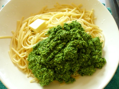cooked pasta, nob of butter, kale pesto, toss adding additional pasta water as needed