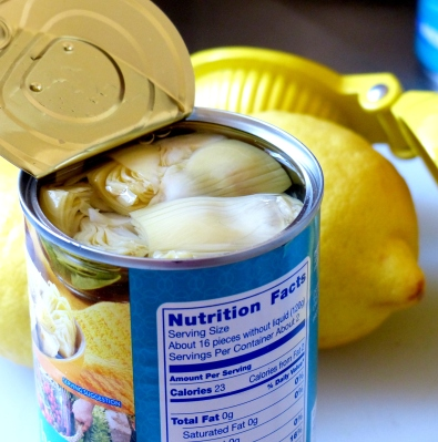 drain and rinse canned water-packed artichokes