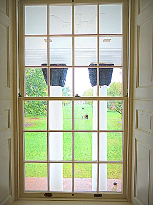 Jefferson's favorite view of the South Lawn through the portico's double inside glass doors.