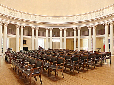 seating in the center of the Dome Room.