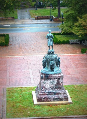 The life-sized statue of Jefferson  overlooks the entrance to Grounds