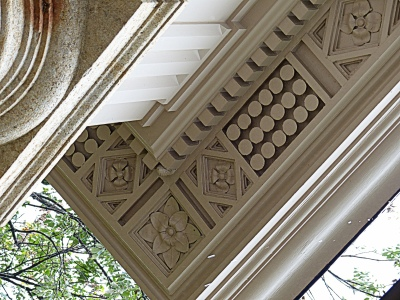 classic fretwork under overhang