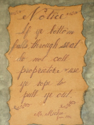 a hilarious note for 18th century guests...