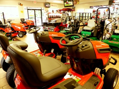 this place is alive with all kinds of mowers, cutting tools, phew, a man's mecca!