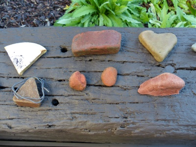 this old wall also makes a great display area for found items from the Potomac River.