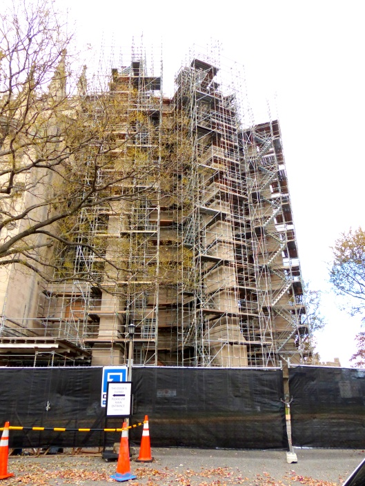 massive scaffolding still covers many areas of the Cathedral's facade...