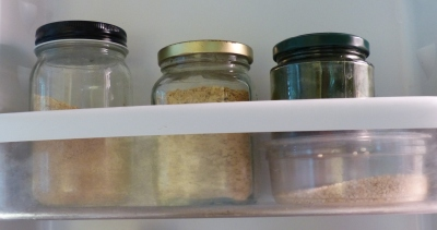 nutritional yeast, ground flax seed, and spirulina all have a place in the fridge for easy access when creating a smoothie.