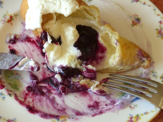 can you taste this? Popovers made with almond milk are the best and fresh blueberry conserve, made at home in minutes is splendid with a bit of whipped cream